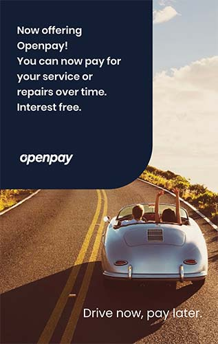 Openpay: Pay for your parts over time.  Take care of your car with more time to pay for servicing, repairs, and more. All interest free.